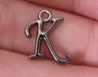"pendant letter, set of 2, from ""K to T"", series10, black, letter 13mm"