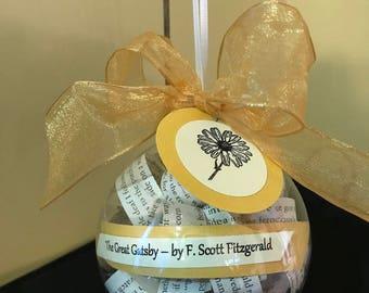 Great Gatsby Book Ornament; F. Scott Fitzgerald; Literary Gifts