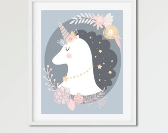 UNICORN - Cute Art Print - Instant Download / Printable