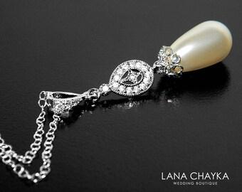 Teardrop Pearl Bridal Necklace Swarovski Ivory Pearl Silver CZ Necklace Wedding Pearl Necklace Bridal Pearl Jewelry Prom Necklace