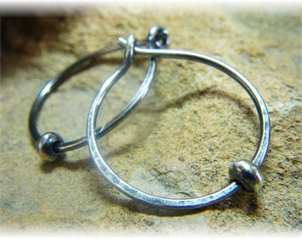 Classic Smooth or Hammered Small Silver Hoop Earrings Oxidized with Sterling Bead- Approx 20mm - Handmade to Order