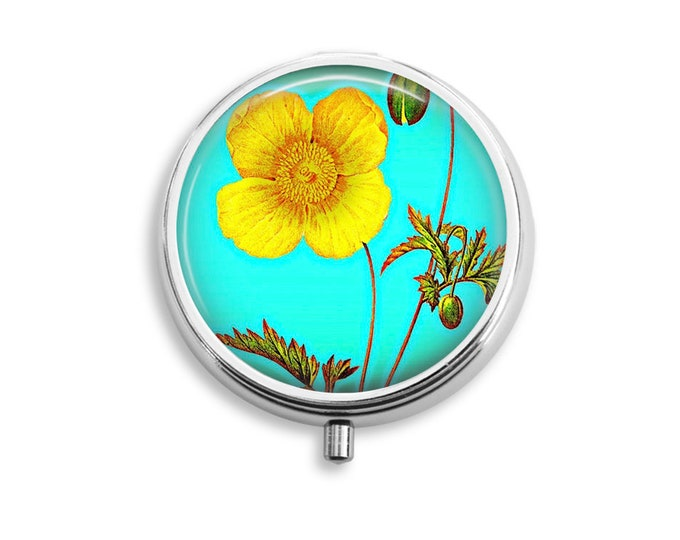 Pill Box Case Yellow Poppy Silver Stash