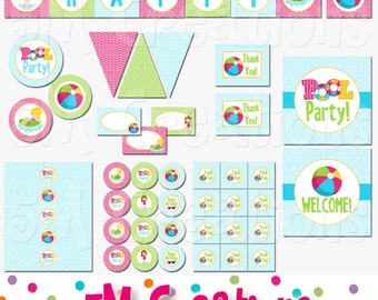 Pool Party Decorations - Swimming Party Printable Package - Pool Birthday Party - Summer Party -Banner Cupcake Toppers  INSTANT DOWNLOAD pdf