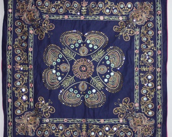 Hand Embroidered Pillowcase-Indigo, Gold, Magenta Flowers/Butterfly-From Turkey