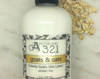 Goats & Oats Oatmeal Scented Natural Goat Milk Lotion Moisturizer with Skin Softening Alpha Hydroxy Acid Paraben Free