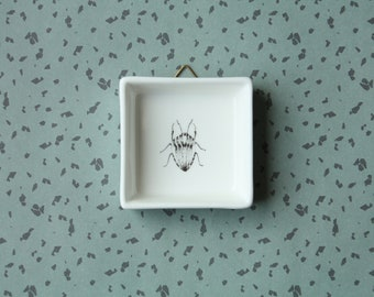Mini ceramic painting Beetle, Screenprint, black and white, wall art, nature print, wall decor