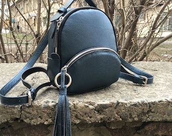 Woman leather backpack, genuine leather backpack, blue backpack