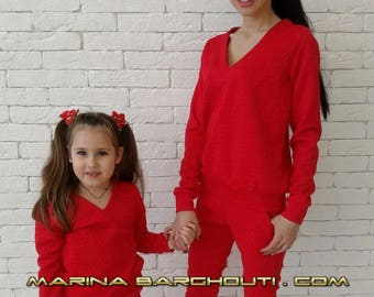 Family Look Matching soft sweatsuit Mother and daughter SET