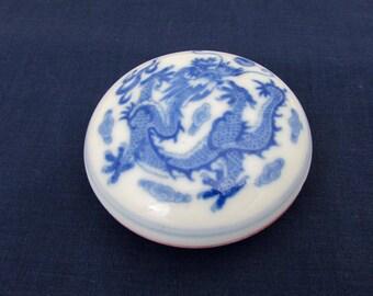 Vintage Japanese Flow Blue Porcelain Compact with Geisha Paint - Dragon Design