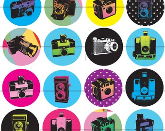 """1"""" Inch Brightly Colored Vintage Camera Flatbacks, Pins or Magnets 12 Ct."""
