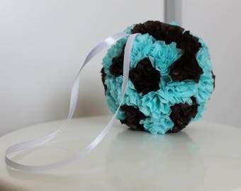 ball silk turquoise chocolate wedding paper flowers