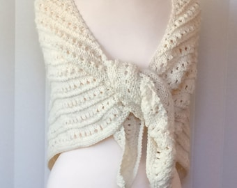 Hand Knitted Shawl, Ivory Handmade Wrap
