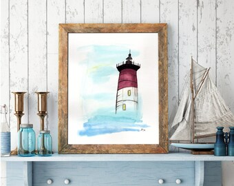 Lighthouse over the Sea, limited edition print of ink & watercolor painting by Allison Muldoon/ChuckandStan