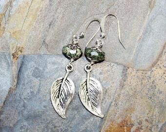 Green Earrings, Leaf Earrings, Spring Earrings, Boho Earrings, Natural Stone Earrings, Dangly Earrings, Jasper Earrings, Handmade Earrings