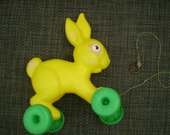 SALE Vintage Empire Plastic Blowmold Easter Bunny Rabbit Pull Toy on Wheels