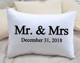 Personalized pillow, Wedding gift, Valentine gift idea, Mr  Mrs. pillow, ruby gift, Anniversary Gift, 2nd anniversary, cotton anniversary