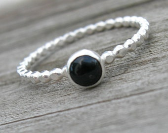 Onyx Sterling Stacking Ring Skinny Ring