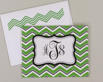 Chevron Monogram Personalized Folded Note Card - A2 Broadfold Thank You Card with A2 Envelope