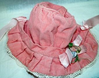 Vintage Toddler Baby Girl Corduroy Pink Hat Cap Ribbons
