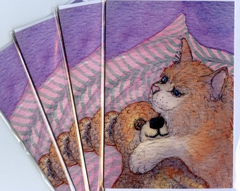 4 x cat kitten teddy bear friends greeting cards
