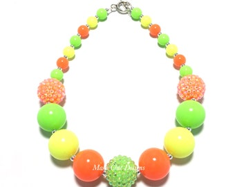 Toddler or Girls Neon Chunky Necklace - Neon Orange, Yellow and Green Necklace - Fruit birthday necklace - Pineapple Chunky necklace - Lemon