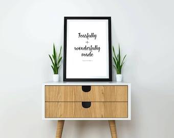 "Verse Print ""Fearfully + Wonderfully Made"" Psalm 139:14"