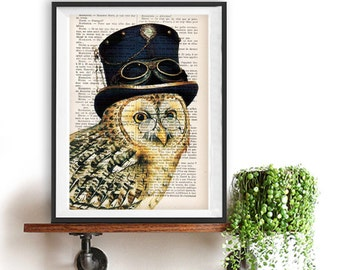 Fantasy Owl Print, Owl Artwork, Owl with a Hat, Owl with Spectacles, Steampunk, Gift for Men, Office Art, Wall Art Prints, Wall Decor