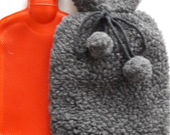 Hot water bottle cover with bottle | wool bottle cover | bed warmer |