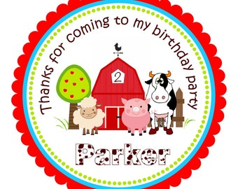 Barnyard Stickers, Personalized Farm Sticker, Barnyard Gift Tags, Barnyard Birthday Party - Set of 12