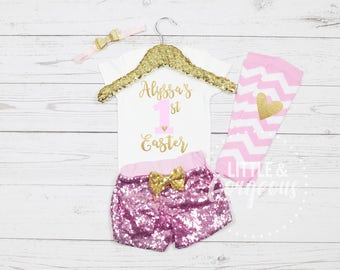 Girl's First Easter Outfit, First Easter Onesie, 1st Easter Outfit, Easter Onesie, 1st Easter, Girls Personalized Easter, Baby Girl Easter