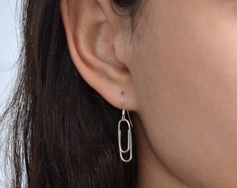 Long Drop Earrings, Silver Dangle earrings, ear chain dangle earrings, Post stud earrings
