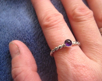 Amethyst Sterling Twist Stack Ring