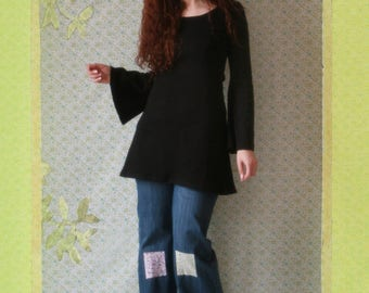 Black tunic with Bell sleeves dress