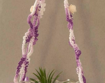 Vintage Clear Pressed Glass Air Fern Planter with Crochet and Beaded Hanger