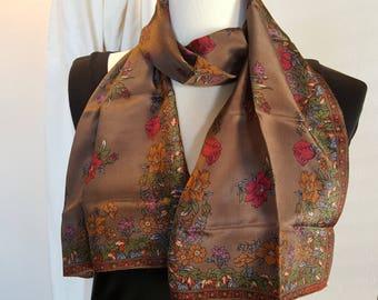 Silk Scarf Long / LIZ CLAIBORNE / Brown Multi Floral / Gorgeous Vintage / A Classic Beauty