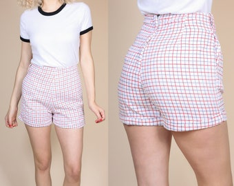 60s Plaid High Waisted Shorts - Medium // Vintage Tattersall Cotton Red White & Blue Shorts
