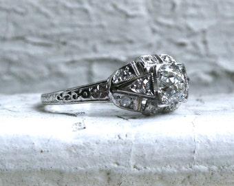 Gorgeous Vintage Art Deco Platinum Diamond Engagement Ring - 0.80ct.