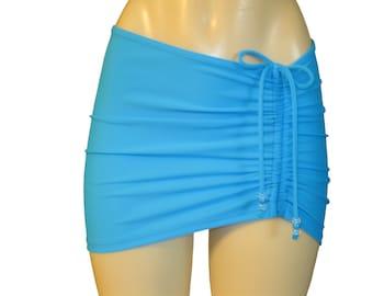 """Beach cover up """"Drawstrings"""", swim skirt, summer short skirt, bikini cover up, adjustable drawstring beach skirt."""
