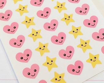 35 Kawaii Star and Heart Planner Stickers- Cute Stickers- perfect in your Erin Condren planner, Plum Planner, wall calendar or scrapbook