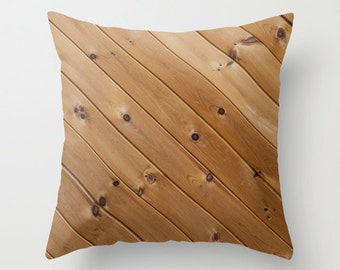 Wood Pillow Cover, Rustic Decor Accent Cushion Case, Brown Knotty Pine Cottage Accent, Rustic Cabin Theme Throw Pillows, Dad Birthday Gift