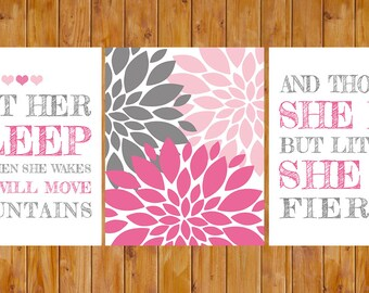 Let Her Sleep For When She Wakes And Though She Be But Little She is Fierce Nursery Wall Art Pink Grey 8x10 JPG files (198)