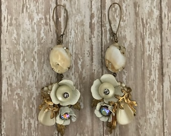 Winter Blooms, Vintage redesigned earrings, rhinestone, cream enamel, OOAK, shabby, feminine, repurposed, floral, upcycled, vintagefrivolity