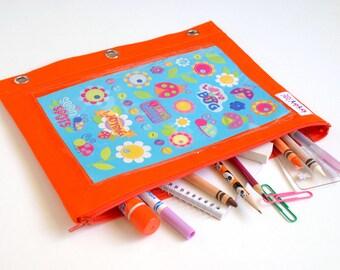 Multi Purpose Binder Pouches, 3 Ring Binder Pouch, Puzzle Storage Pouch, Craft Storage Case, School Binder Pouch-Orange