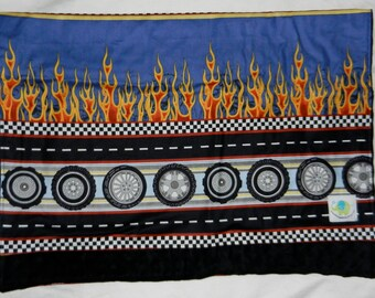 Snuggle Blanket - Changing Pad - Hot Rod Flame WHEELS with black minky