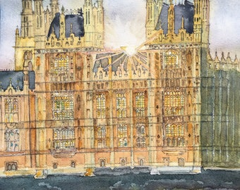 Houses of Parliament, watercolour