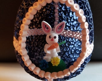 quilled hollow easter egg art with easter bunny