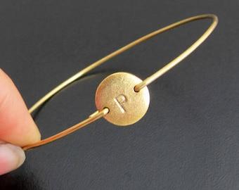 Personalized Jewelry for Best Friend, Custom Initial Bracelet for Women, Monogram Bracelet Gold Plated Disc, Birthday Gift, Women's Jewelry