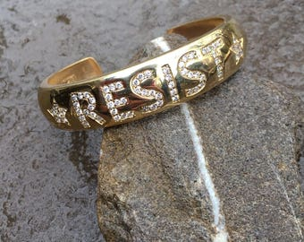RESIST cuff in bronze with CZs