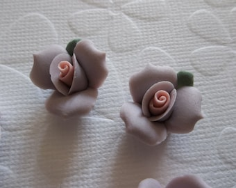 17mm Purple Ceramic Roses - Flower Cameos - Green Leaf - Pink Center - Flat Back Cabochons - Qty 6