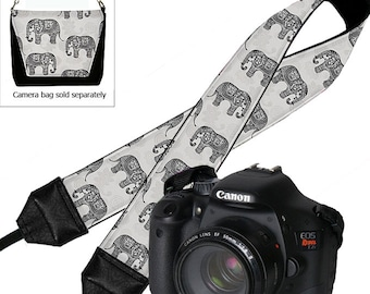 Elephant Camera Strap Dslr Cute Paisley Slr Digital Camera Padded Strap Nikon Canon etc black gray RTS